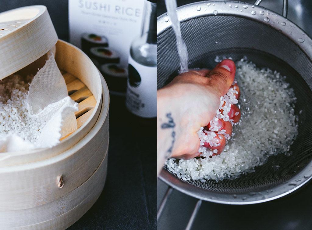cómo lavar el arroz para sushi